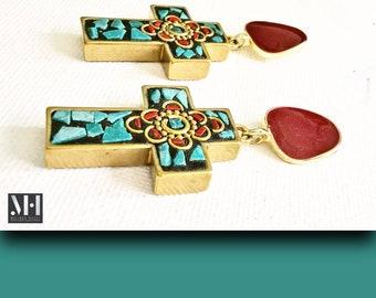 Turquoise cross earrings, rose stone, simple, everyday, holiday, elegant, costume jewellery, Tibetan style, Indonesian cross pendant, luxe