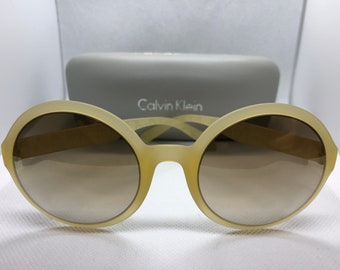 9064198385 Oversized Rare Vintage Retro Brand New Authentic Calvin Klein CK3164S 250  Pale Yellow Sunglasses Exaggerated Cute