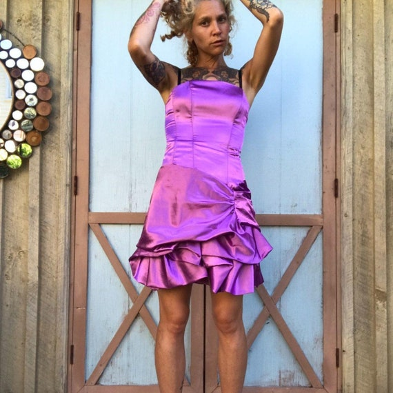 vintage 00's purple prom party corset strapless sl
