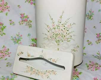 Vintage ~ Mid Century ~  1950/'s ~ Ransburg Metal Kleenex WALL HANGING Tissue Holder ~ Gold Dogwood Flowers