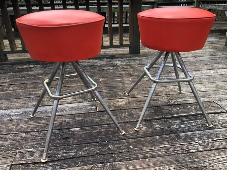 Miraculous Vintage Orange Low Sitting Bar Stools Mid Century Modern Atomic Great Condition Dailytribune Chair Design For Home Dailytribuneorg
