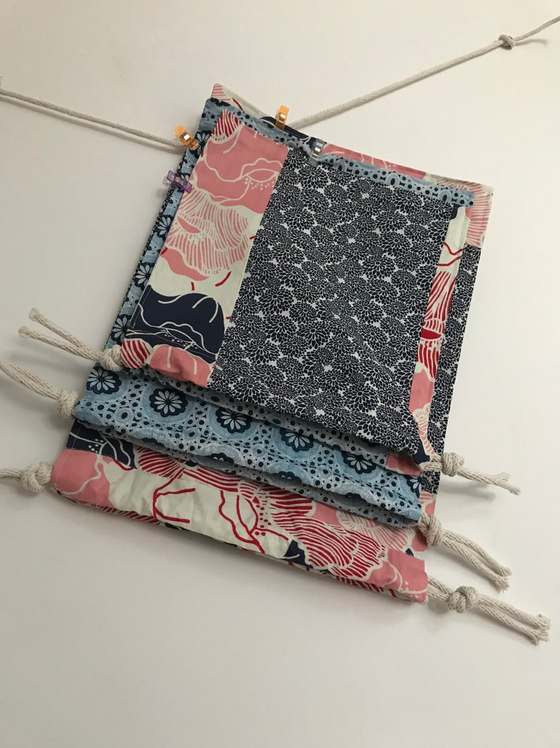 original Drawstring vegan storage bag navy blue and red patchwork pouch set of 3 textile fun practical gift all year unique,handmade