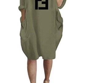 72f84c14af62 Oversized Long Sleeve Inspired Fendi Pocket Dress S-3XL Many Colors