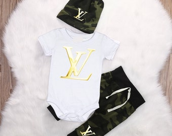 10760046a3c5 Camouflage Louis Vuitton Inspired Baby Onesie Pants and Hat set NB-18M