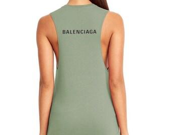 bf2ba6269e06a5 Womens Balenciaga Inspired Muscle Tank Top XS-2XL All Colors