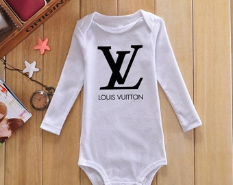 bbec69c17a52 Cute Inspired Designer Louis Vuitton Baby Onesie with Long Sleeves All  Colors NB-24M