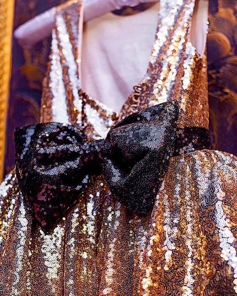 Gold sparkle dress for girl sequined dresses gorgeous flower girl gold dress glitter girls dress gold and black dress with train open back