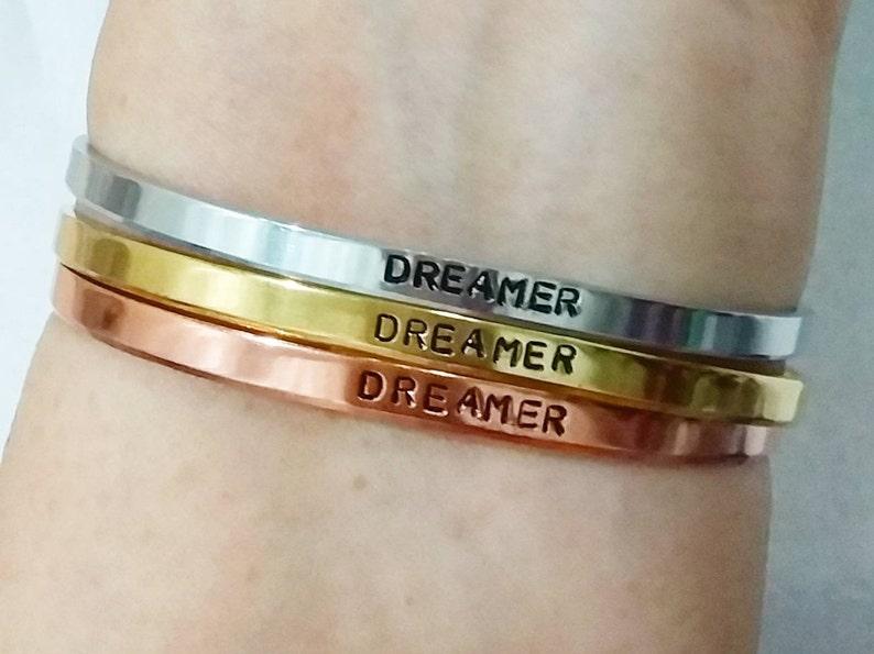 Ready Made Women Bracelet Dreamer Hand Stamped Bracelet MB12
