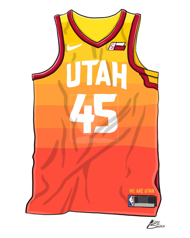 promo code 54f5a 27706 Donovan Mitchell + Utah Jazz - City Edition Jersey Bundle (Set of 2) –  Premium Poster Prints – Hand-drawn/Digital Caricature Art Portraits