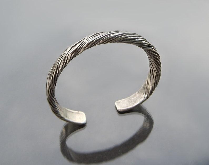 Karen Hill Tribe Silver Bangle Sterling Silver Cuff Bracelet Silver Bangle for Men
