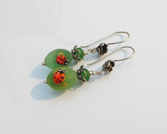 Handmade Silver Earrings Sterling Silver  Earrings with Glass Lampwork beads and Feather Charms,Sterling Silver Earrings