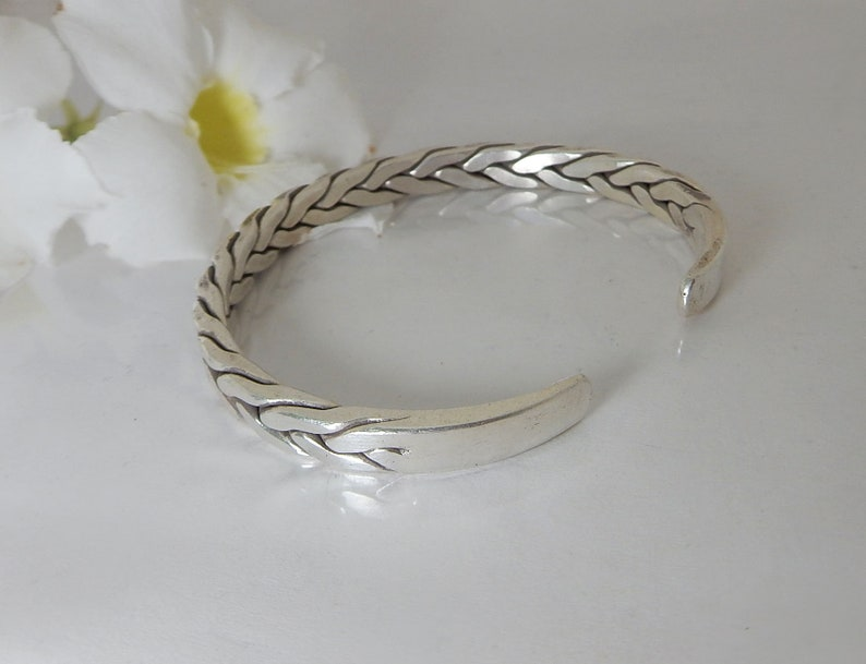 Sterling Silver Cuff Bracelet Silver Bangle for Men Karen Hill Tribe Silver Bangle Silver Bangle for Woman