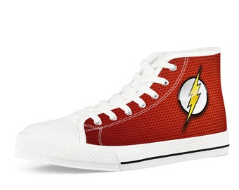 24680f6a96c447 Canvas Shoes Hand Customised with Marvel The Flash Cartoon Strip Fabric in  Red Color Men Women Kid White High Top Canvas Shoes
