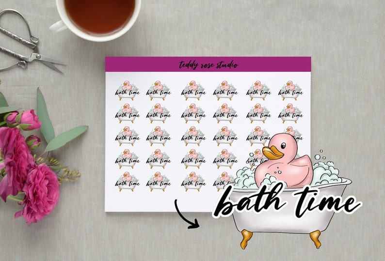 Bath Time 30 Planner Stickers Icons Erin Condren Happy image 0