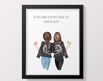 Best Friend Birthday Gift Funny Printable Wall Art Last Minute Idea