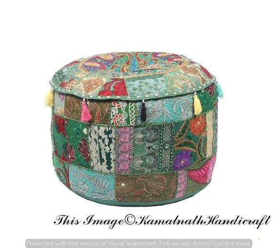 Hippie Bohemian Handmade Khambadia Handmade Bohemian Hand Embroidered Pouf Cover Ethnic Foot Stool Cover Patchwork Boho Ottomans Ethnic
