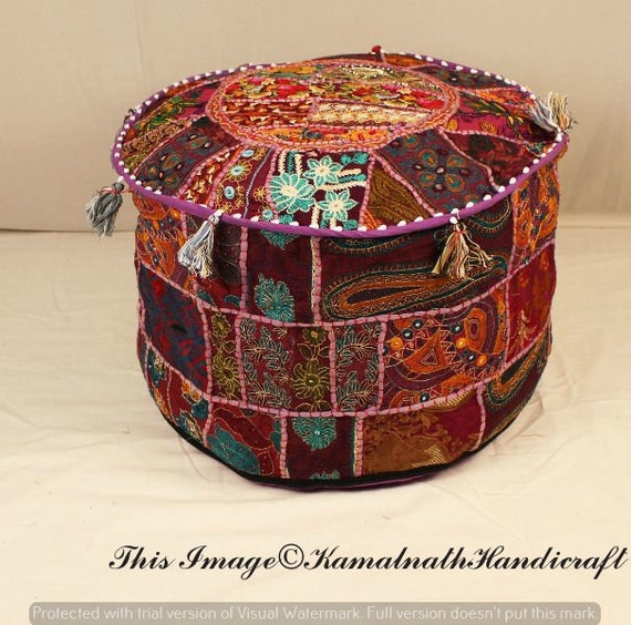 Sensational Indian Bohemian Style Ottoman Pouf Interior Decor Footstool Floor Pillow Indian Embroidered Pouf Pouffe Patchwork Seat Cover Chair Ottomans Unemploymentrelief Wooden Chair Designs For Living Room Unemploymentrelieforg