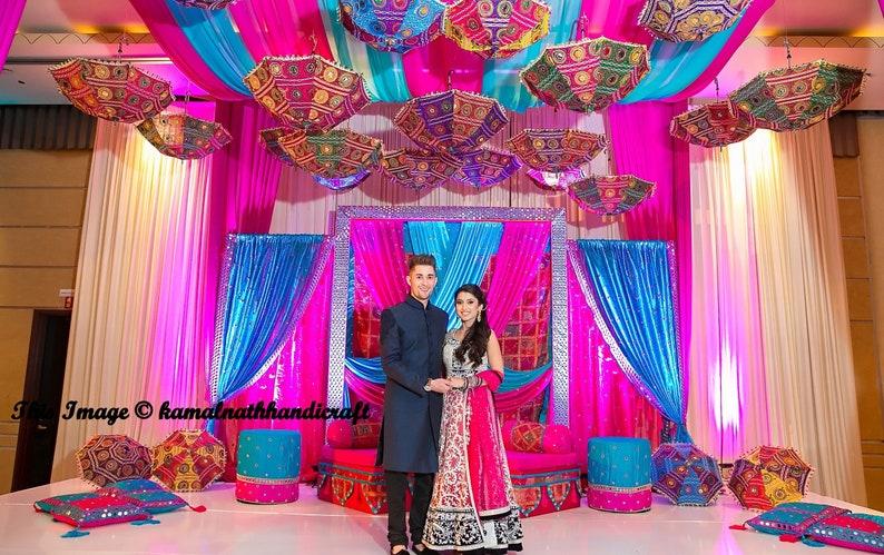 3cffc0be70a6e 3 Pcs Lot Indian Wedding Umbrella Decoration Mirror Work | Etsy