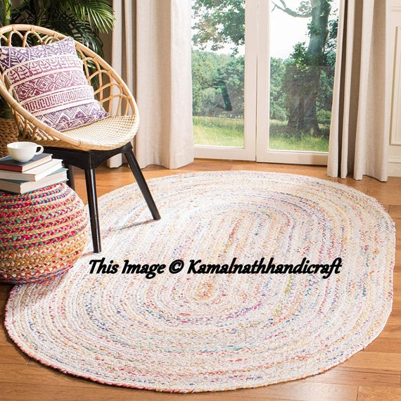 Floors Natural Recycled Braided Oval Cotton White Base Woven Fabric Area Rug