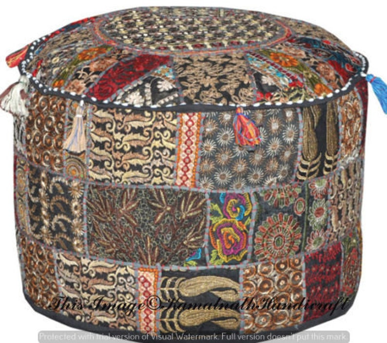 Bohemian 18 Black Indian Traditional Home Decorative Ottoman Handmade Patchwork Foot Stool Floor Cushion Cover Pouf Pouffe Ottoman Chair