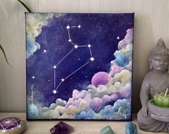 Painting on canvas - constellation of the zodiac - sign of the lion
