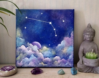 Painting on canvas - constellation of the zodiac - sign of the ram
