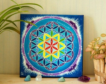 Painting on canvas - flower of life colors chakras - vibratory painting