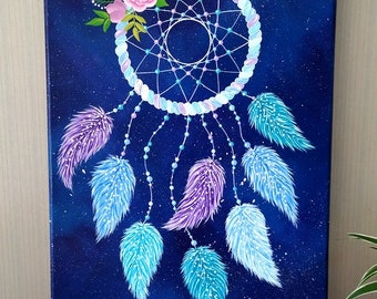 Painting on canvas - Catch dream on starry background