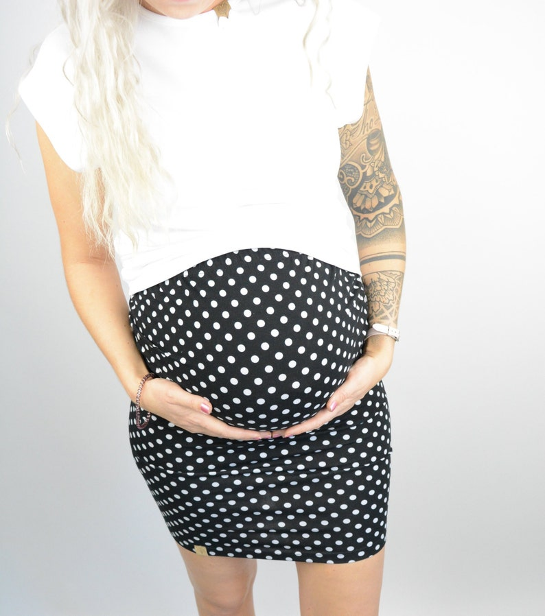 Maternity Fashion Circumstance Skirt by Woman Buying Jersey skirt MOMO PREGNANCY Skirt in black with white Dots
