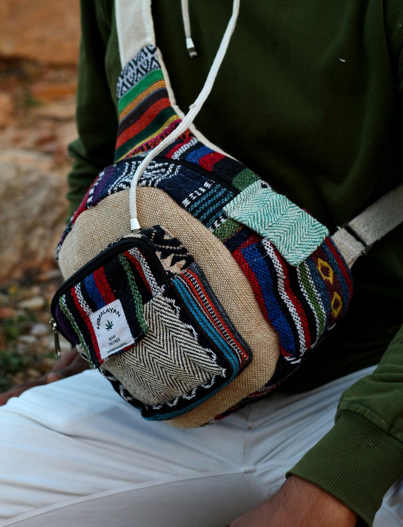 Handmade Vegan Bag, Hemp Sling Bag Funny Pack Cross body bag Hemp CrossBody Bag