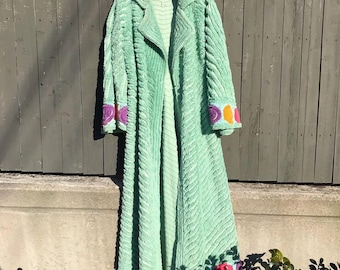 c41985f3ee 1940s mint green chenille robe with colored details