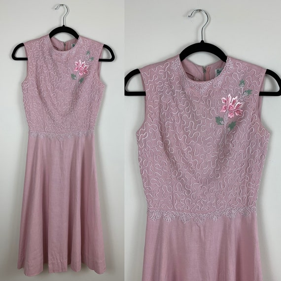 1940s Pink Embroidered and Soutache Irish Linen Dr