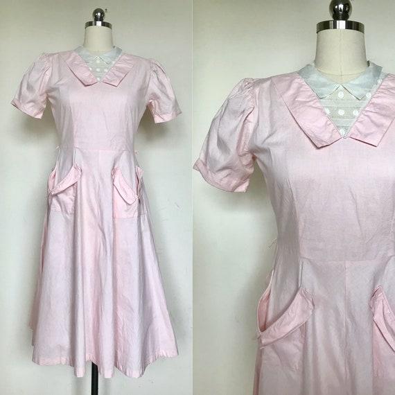 1930s petal pink puffed sleeve cotton dress size m