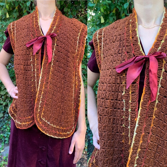 Antique Victorian Knit Capelet Shawl Mantle [OS]