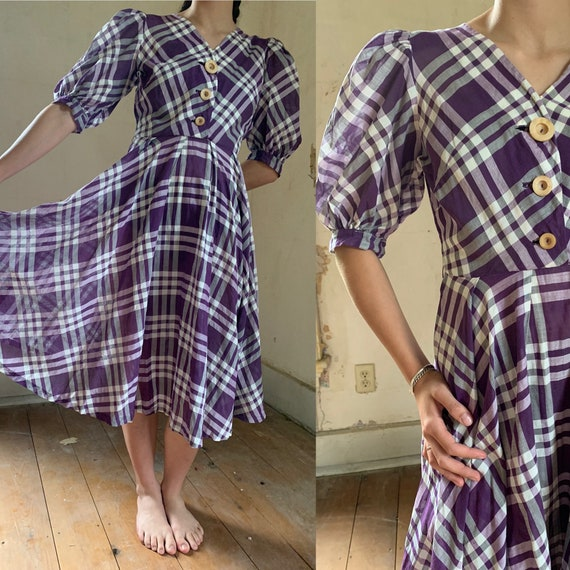 1940s Eisenberg Originals Balloon Sleeve Plaid Dre