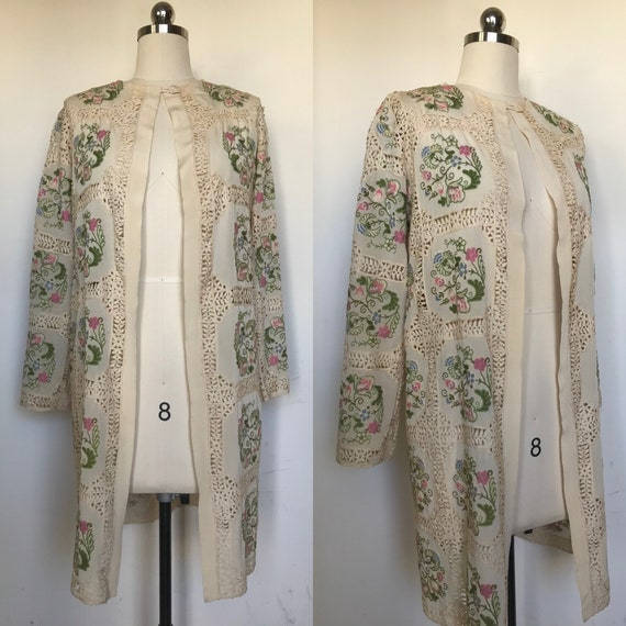 1920s Floral Embroidered Silk Jacket [xs/sm]