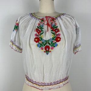 Medium Peacock Embroidered Peasant Blouse Long Sleeve-Black Cotton BOHO-Hippie-Summer-Traditional-Clothing-Frida Kahlo-Mexican Fiesta Outfit