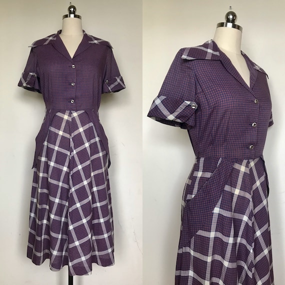1940s purple plaid cotton dress size sm/med