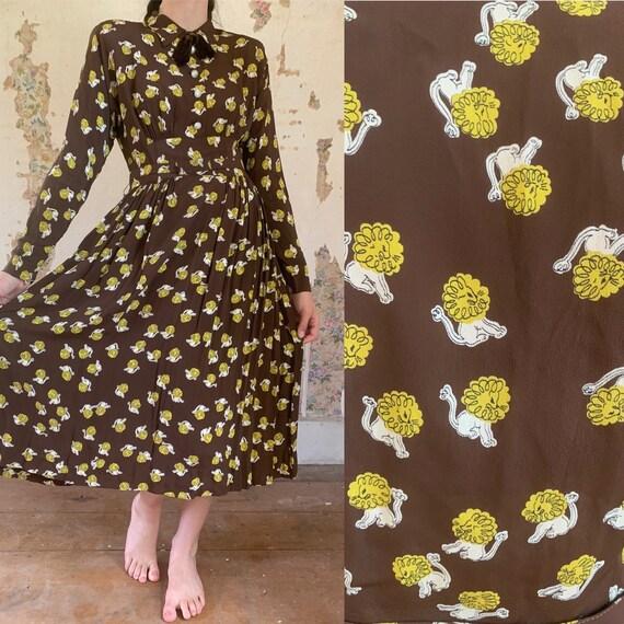 1940s Dartford Deb Lion Print Cold Rayon Gown [xs/