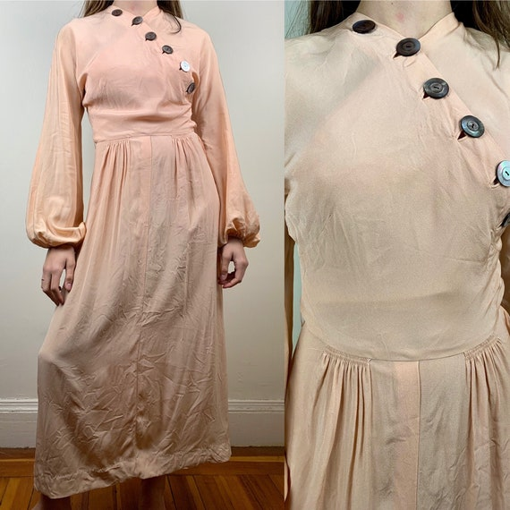 1930s Blush Rayon Crepe Bishop Sleeve Gown [xs/sm]