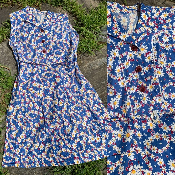 1930s Volup Daisy Feedsack Dress with Fruit Cellul