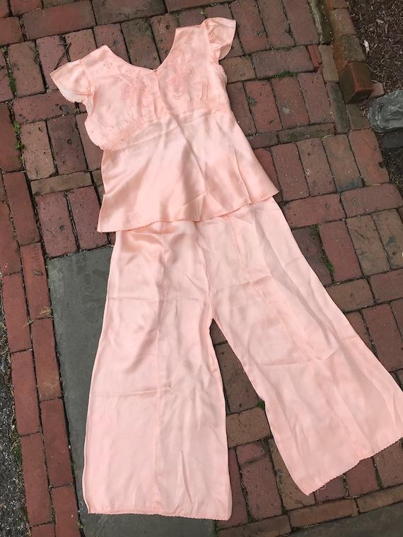 1930s Petal Pink Silk Pajamas with Trompe l'oeil B