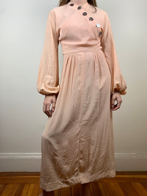1930s Blush Rayon Crepe Bishop Sleeve Gown [xs/sm] - image 2