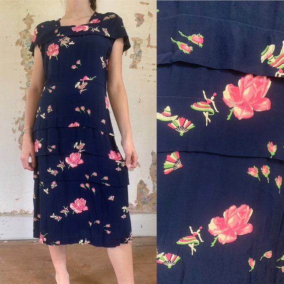 1940s Mexican Dancers Rose Print Cold Rayon Dress