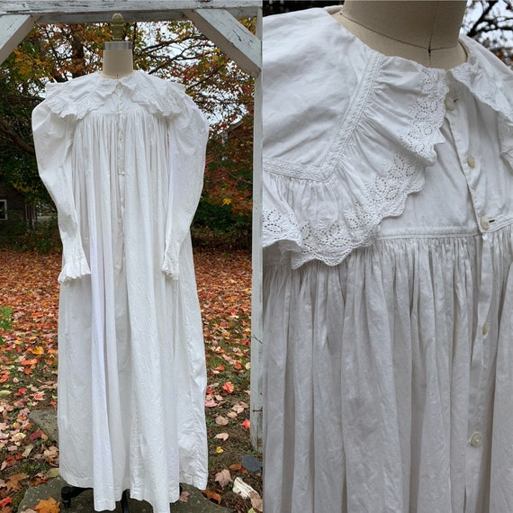 Victorian White Mutton Sleeve Wrapper Dress  [xs/s