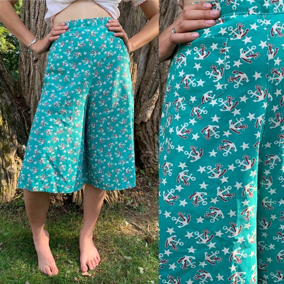 1930s Teal Nautical Anchor Cotton Wide Leg Culotte