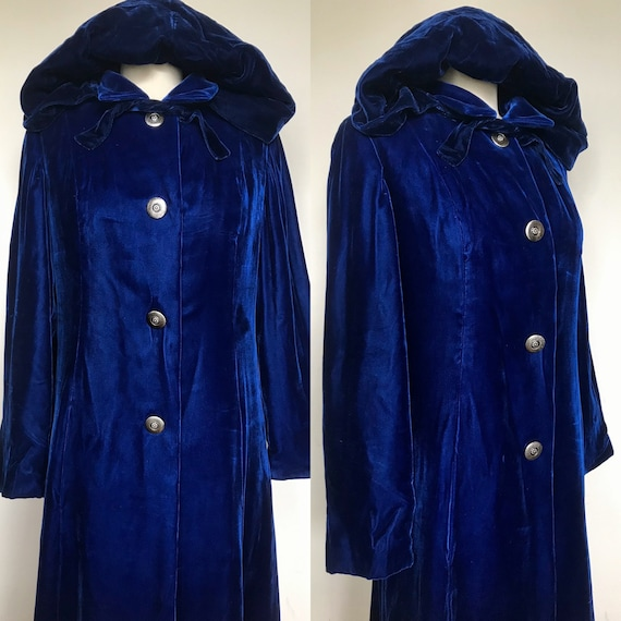 1940s Blue Velvet Coat With Matching Hood [sm/med]