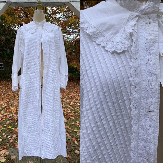 Victorian White Embroidered Jacket Wrapper with Po