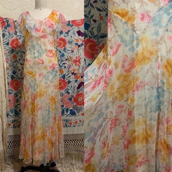 1930s Pastel Floral Silk Chiffon Bias Cut Dress [… - image 1