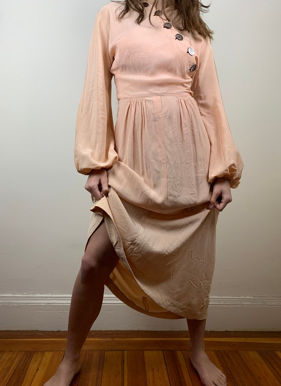 1930s Blush Rayon Crepe Bishop Sleeve Gown [xs/sm] - image 3